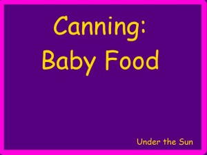 Canning Baby Food
