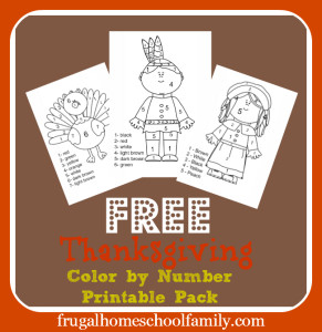 Free Thanksgiving Color By Number- Frugal Homeschool Family
